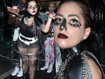 Hot mesh! Lady Gaga is a live wire as she leaves club in see-through top, metal tutu dominatrix outfit and VERY bizarre make-up