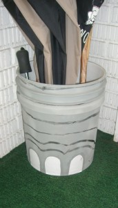 Elephant foot umbrella stand made from a plastic bucket