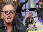 Drenched like a Rumble Fish! Mickey Rourke gets bucket of ice water dumped on his head on Late Night With Seth Meyers
