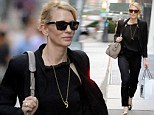 Back to black! Cate Blanchett steps out in New York ahead of her play The Maids in midnight ensemble with a dash of monochrome footwear