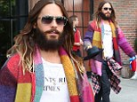 Jared and the Technicolour Dreamcoat! 30 Seconds To Mars frontman Jared Leto steps out in NYC wearing an array of colors and prints