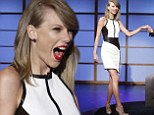 Taylor Swift puts on a long and leggy show in leather monochrome dress for an appearance on Late Night With Seth Meyer