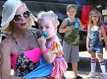 Like mother, like daughters! Tori Spelling and her children coordinate in neon colours on family outing