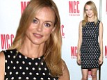 Heather Graham looks spot-on in an elegant polka dot dress as she promotes her new play The Money Shot in New York