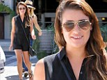 Lea Michele shows off her shapely legs in short romper as she treats herself to shopping trip at high-end furniture store