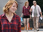 Picture Shows: Emma Stone, Joaquin Phoenix  August 14, 2014    Actors Emma Stone and Joaquin Phoenix walk and share a laugh on the way to their trailers, on the set of a untitled Woody Allen project due for release in 2015.     Exclusive - All Round  UK RIGHTS ONLY    Pictures by : FameFlynet UK    2014  Tel : +44 (0)20 3551 5049  Email : info@fameflynet.uk.com