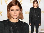 Kate Mara shows off her edge in black studded jacket and skintight pants at pre-Emmy Awards gala