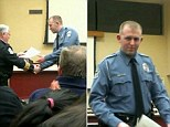 Ferguson police officer: Darren Wilson, 28, pictured receiving a commendation for 'extraordinary effort in the line of duty' in February has been named as the police officer who shot dead Michael Brown, 18