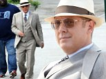 Just another day at the office! James Spader is dapper in three piece suit and fedora as he films new series of The Blacklist