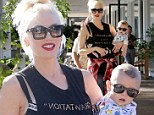 The future's so bright! Gwen Stefani and her baby boy Apollo wear matching dark sunglasses in Beverly Hills