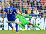 Leicester City's Chris Wood scores their second goal of the game