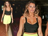 Jessica Wright puts her slim figure on display as she teams lime green skirt with yellow heels for fun night out in Las Vegas