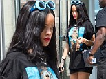 Pop diva Rihanna wears T-shirt of herself...after 'waiting like a normal person at the bar' during night out at Manhattan's Bowery Hotel