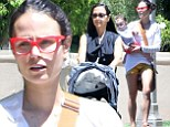 Leggy Jordana Brewster rocks red-rimmed glasses for Santa Monica stroll with her baby boy Julian and mother Maria