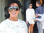 Kris Jenner dons a lacy white mini-dress as she lunches with Britney Spears' ex-fiancé Jason Trawick
