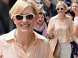 Almost done! Cate Blanchett can't help grinning as she heads to final performance of her play The Maids in New York