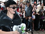 Gothic Gaga! The quirky singer reveals a darker side to herself as she arrives in Perth to kick off her latest Australian tour