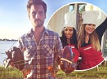 Scott Disick presents Kourtney and Khloe Kardashian with a pair of lobsters for a summer bbq