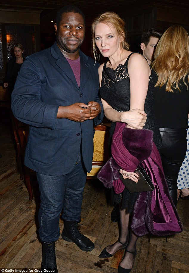 Catching up: British director Steve McQueen chatted to Hollywood stalwart Uma Thurman at the glittering party