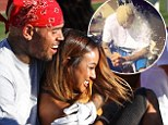 Chris Brown and Karrueche Tran put break up rumours to rest as they get cosy during charity football game... before the singer accepts ALS Ice Bucket Challenge