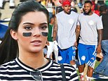 Sporting fan: Kendall Jenner arrived at the Chris Brown and Quincy hosted charity celebrity flag football game in Los Angeles on Saturday