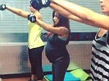 Working out for two! Eight months pregnant Snooki shows off blossoming bump while lifting weights at the gym