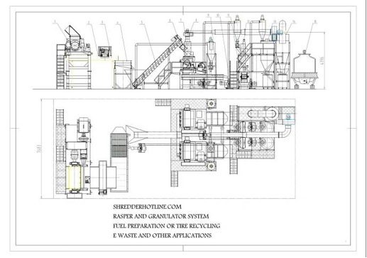 tire recycling system layout