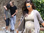 Please contact X17 before any use of these exclusive photos - x17@x17agency.com   Fresh-faced pregnant Zoe Saldana looks so in love with hubby Marco Perego during their early morning hike in Los Angeles. August 19, 2014 X17online.com EXCLUSIVE