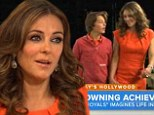 'It's a sexy adventure into royalty' Elizabeth Hurley on her saucy role as the Queen in new series Royals... as she shows son Damian around the set
