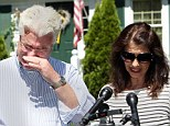 Speaking through their tears: John and Diane Foley talk to reporters after speaking with U.S. President Barack Obama on Wednesday, August 20, outside their home in Rochester, New Hampshire