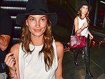 Los Angeles, CA - Lily Aldridge dons a simple white blouse which she paired with black leather trousers matching her booties and Fedora hat, she accessorized her look with a burgundy leather Saint Laurent designer tote bag as she arrives at LAX Airport. AKM-GSI         August  19, 2014 To License These Photos, Please Contact : Steve Ginsburg (310) 505-8447 (323) 423-9397 steve@akmgsi.com sales@akmgsi.com or Maria Buda (917) 242-1505 mbuda@akmgsi.com ginsburgspalyinc@gmail.com