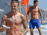 David Beckham turns up the temperature on Malibu beach as he parades his famously tattooed, athletic physique in just a pair of boardshorts