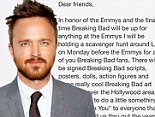'Just wanted to do a little something to say Thank You': Aaron Paul will hold Breaking Bad scavenger hunt in honor of the show's last time at Emmy Awards