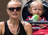 Wheel-y fun! Malin Akerman pushes happy little Sebastian around in a stroller on outing with friends