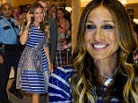 At age 49, Sarah Jessica Parker takes on the fashion challenge of mixing snakeskin with stripes... and pulls it off