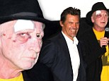 No laughing matter! Sin City creator Frank Miller shows off black eye as he poses with guffawing Josh Brolin at A Dame To Kill for photocall
