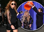 Lindsay Lohan heads out in a side boob revealing mesh and leather ensemble... before getting an ice bucket soaking on Jimmy Fallon