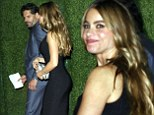 Always a hit: Sofia Vergara stunned in a skintight black dress as she and her boyfriend Joe Manganiello attended the CAA Pre-Emmy party at Couchon Bistro in Beverly Hills, California on Friday