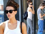 Kate Beckinsale keeps it weekend casual in a white vest top and grey sweats while running errands with daughter Lily