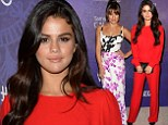 Bright young things! Selena Gomez wears '70s red jumpsuit as Lea Michele also goes retro in two tone gown at pre-Emmy bash