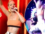 Iggy Azalea left red-faced after toppling off stage during MTV performance... but recovers to finish her set