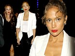 Celebrity BFFs Jennifer Lopez and Leah Remini don b&w ensembles to watch pre-MTV VMAs concert in Hollywood