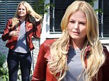 Lady in leather: Jennifer Morrison donned a red biker jacket and knee-high boots as she filmed Once Upon A Time in Steveston, Canada on Thursday
