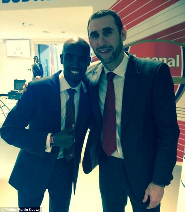 Marathon: Martin Keown watched the cup final with huge Arsenal fan Mo Farah