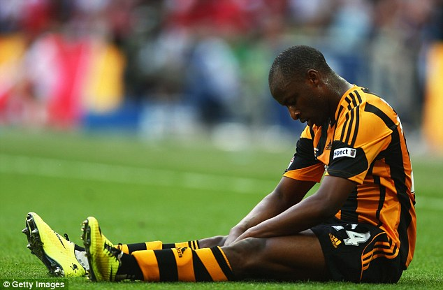 Agonising: Sone Aluko saw a late, late chance cleared off the line by Kieran Gibbs