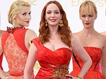 Scarlet women Christina Hendricks, January Jones and Claire Danes rule in rouge on glamorous Emmy Awards red carpet