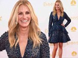 Short and sweet! Julia Roberts arrives to the Emmy Awards red carpet in Elie Saab mini dress featuring a high hemline