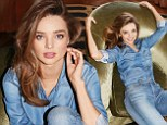 Double denim delight! Miranda Kerr is flawless tight jeans and matching button up shirt in new images from her 7 For All Mankind campaign
