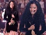 Wardrobe malfunction! Embarrassed Nicki Minaj awkwardly holds her LBD together during MTV VMAs performance after zipper jams