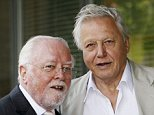 Lord Richard Attenborough and Sir David Attenborough pose outside the 'Richard Attenbororugh' Building at the University of Leicester, before they are awarded the title of Distinguished Honorary Fellowships from the University of Leicester, at De Montfort Hall on July 13, 2006 in Leicester, England. (Photo by Matthew Lewis/Getty Images)